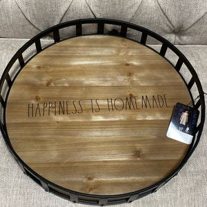 """rae dunn 18"""" round happiness is home made tray"""